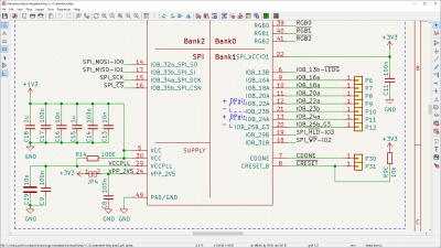 Image of hackRF schematic open in eeschema