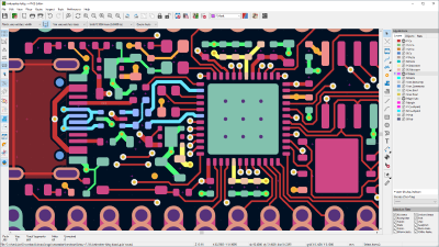 Image of hackRF PCB open in pcbnew