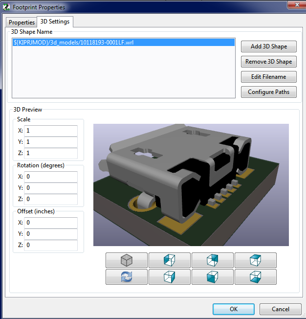 The footprint 3D properties dialog now with the new 3D previewer. Also including the preview of the footprint to assist in alignment.