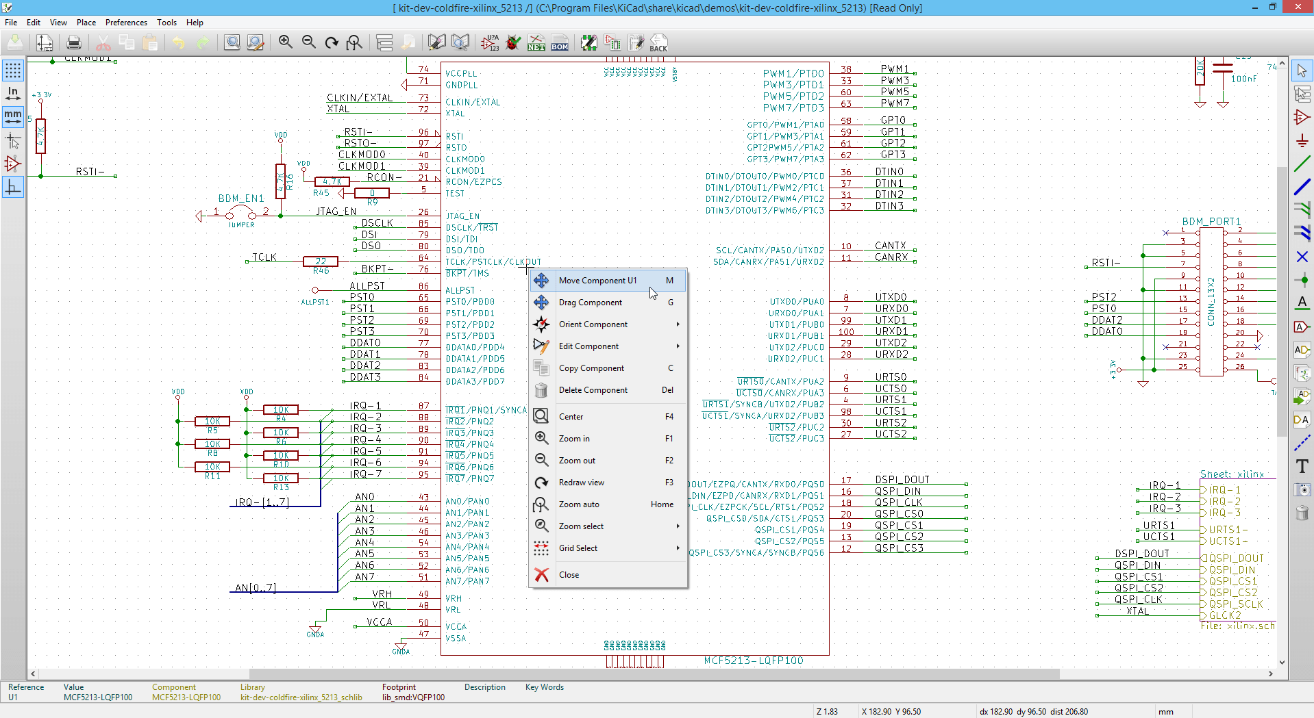 Screenshot showing component context menu with various manipulation options