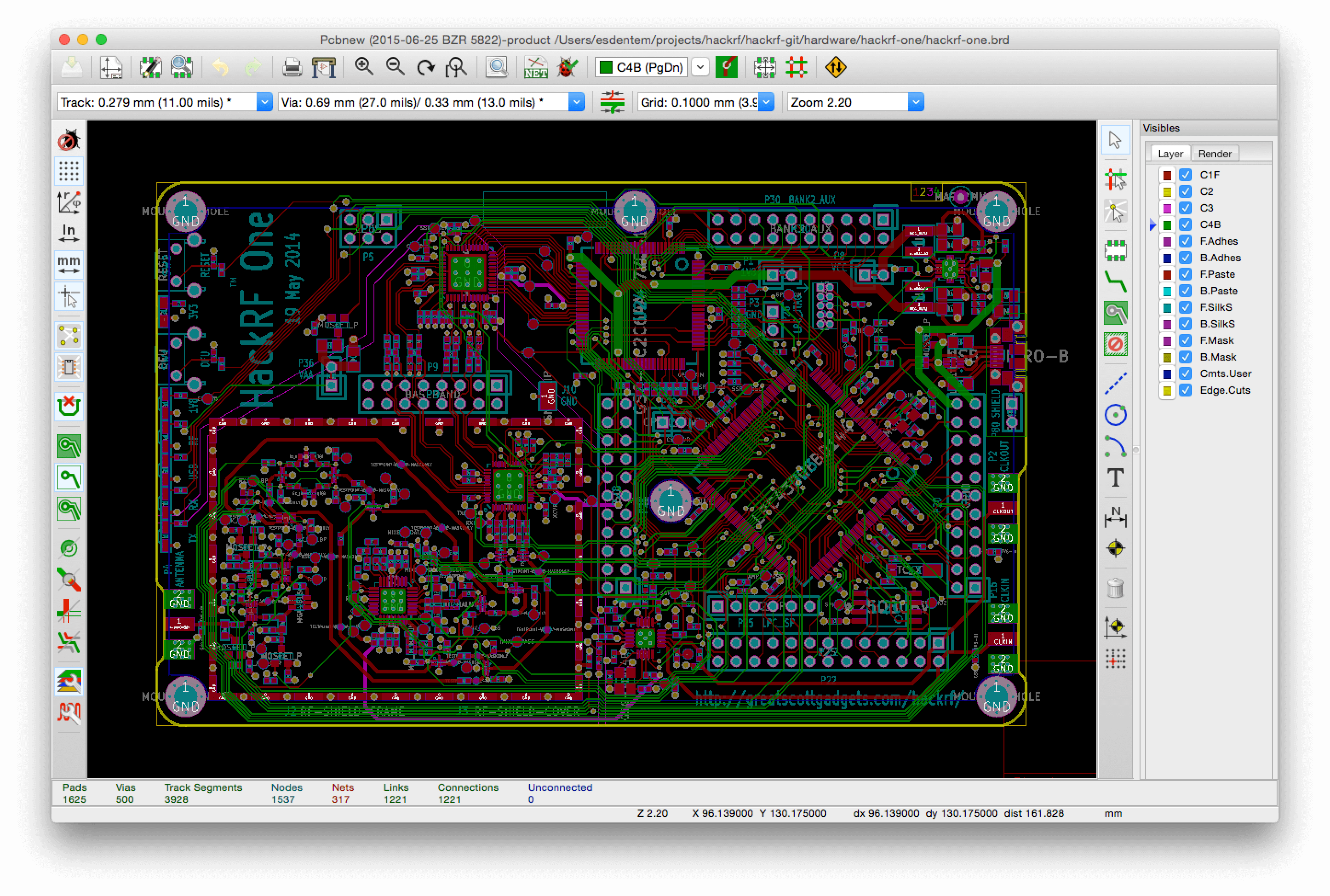 Screenshot showing Pcbnew on macOS for comparison