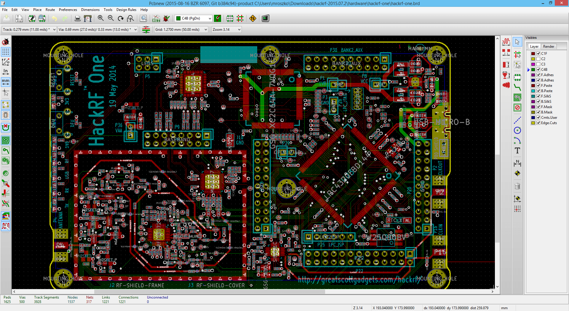 Screenshot showing hackRF PCB layout loaded in pcbnew